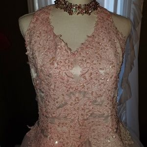 Blinged out pink Oleg Cassini gown